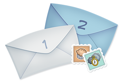 Two letters and two stamps for Toontown Member Mailers.