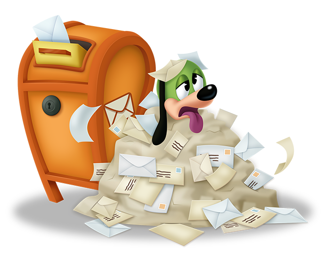 Postmaster Pete sits covered in letters next to a Toontown mailbox.